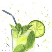 Hand drawn illustration of Mojito Watercolor made in vector