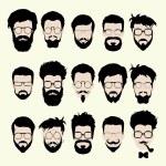 Постер, плакат: Vector set of hipster style haircut glasses beard mustache
