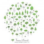 Постер, плакат: Trees and Forest set