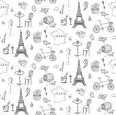 Nahtlose Hintergrund mit französischen Ikonen