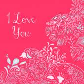 I Love you text on pink background with floral nature ornament with roses flowers bluebell campanula bellflower leaves branches Vector illustration eps 10 For valentines day design concept