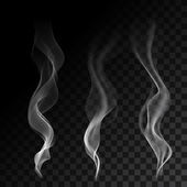 White steaming cigarette smoke waves on transparent background Vector illustration