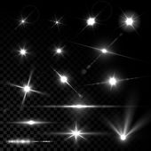 Realistic vector glowing lens flare light effect with stars and sparkles bursts on transparent background