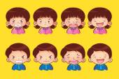 Face of  boy and girl cartoon many emotions