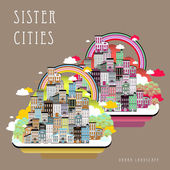 Lovely sister cities landscape in flat style
