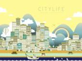 Lovely city life landscape in flat style
