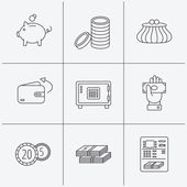 Piggy bank cash money and wallet icons Safe box send money and dollar usd linear signs Give money coins and ATM icons Linear icons on white background Vector