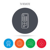 Remote control icon TV switching channels sign Globe download and speech bubble buttons Winner award symbol Vector
