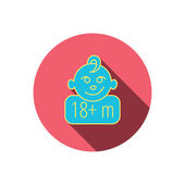 Baby face icon Newborn child sign Use of one and half year and plus symbol Red flat circle button Linear icon with shadow Vector