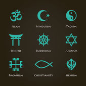 World religion symbols cyan color set with christian Jewish Islam etc