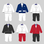 Tuxedo Baby boy Formal wear Wedding Party with bow tie Vector il