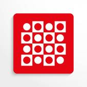 Red and white image on a light background with a shadow Sport signs Checkers Vector icon