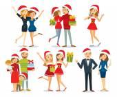People and Christmas season vector illustration