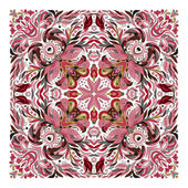 Design for square pocket shawl textile pillow Vector floral pattern Delicate pink eastern ornament on white background Batik