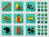 Snowbord and its equipment set Flat long shadow design Ski icons series