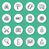 Set of line icon Pirate Contour round icons with shadow Info graphic elements Vector illustration eps 10