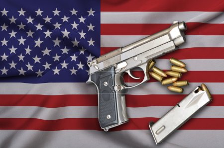 Постер, плакат: USA Gun Laws flag with pistol gun and bullet, холст на подрамнике