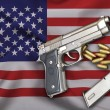 Постер, плакат: USA Gun Laws flag with pistol gun and bullet