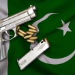 Постер, плакат: Pakistani Gun Laws flag with pistol gun and bullet