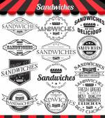 Vector illustration set of sandwiches retro vintage labels, badges and logos.