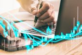 Graf z údajů akciového trhu a finanční analýzu zásob indikátorem. Svíčka stick graf akciového trhu, akciový trh dat graf na Led displej koncept
