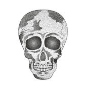 Vector of cool vintage human skull with halftone effect to the Day of The Dead Contour Vector Illustration