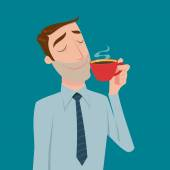 Businessman drinking coffee tea break time in bright office Vector illustration cartoon style