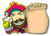 Illustration of a Pirate Beside a Scroll Vector background