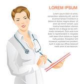 Nő orvos írni a dokumentum