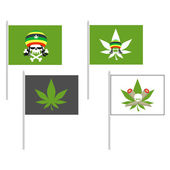Smoking drugs flag Rasta Hat skull Cannabis leaf Vector illustratio