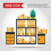 Kancelářský nábytek set. Případ, box s složky a rostlin, web ikony, vektor