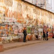 ������, ������: MOSCOW RUSSIA March 25 2007 Moscow musical landmark wall with graffiti dedicated to famous deceased singer Viktor Tsoi Kino musicband