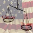 Постер, плакат: Clinton and Trump red words on scales