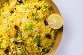 Poha or aalu poha or pohe made up of beaten rice or flattened rice, favourite indian snack