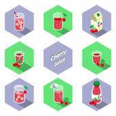 Set of isometric drinks and beverages icons in flat design