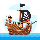 Kids pirate ship sailing in the sea with black flag and sail decorated with scull and cross bones Flat style vector cartoon illustration isolated on white background