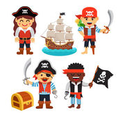 Pirate kids rascals girls and boys in hats and bandanas with treasure chest black flag and ship Flat style vector cartoon illustration isolated on white background