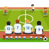 Children substitute replacement soccer team sitting on a bench watching a match Flat style vector cartoon illustration isolated on white background