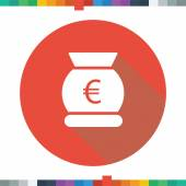 Flat money bag icon with a euro sign in a red circle with a long shadow