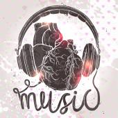 Anatomical heart with headphones hand drawn illustration of music concept on grunge background