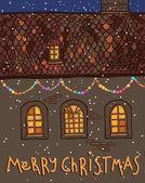 Frohe Weihnachten-Haus in der Nacht