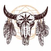 Buffalo Skull With Feathers And Dreamcatcher Hand Drawn Sketch
