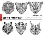 Set the family cat coloring book for adults zentangle art pattern hand drawn illustration