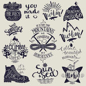 Vacation travel lettering set