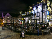 Shambles Square at night, Manchester, England
