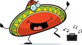 A happy cartoon sombrero dancing and smiling
