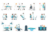 Medical Staff And Patients Different Situations Set in hoapitalclinic people cartoon character isolated on white health care conceptual vector illustration