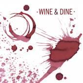 Sklenice na víno nebo pohár skvrny izolované na bílém, vektor
