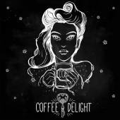 Beautiful pin-up girl with a cup Vector illustration Hand drawn design Coffee delights Template Hipster style lady with beautiful bright hair