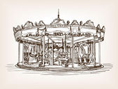 Children carousel sketch style vector illustration Old engraving imitation